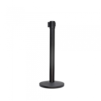 Stainless Steel Retractable Belt Q-Up Stand - Black