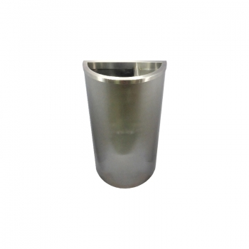 Stainless Steel Semi Round Bin c/w 1/3 Ashtray Top (SS 105)