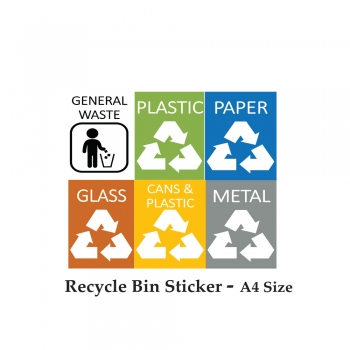 Recycle Bin Sticker - A4 Size