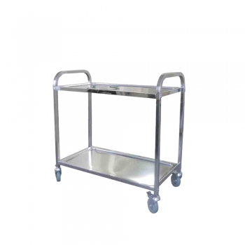 Stainless Steel 2 Tiers Restaurant Trolley