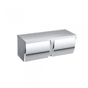 Double Stainless Steel Toilet Roll Dispenser (Full Cover)