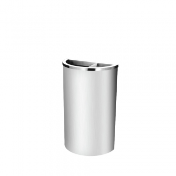 Stainless Steel Semi Round Bin c/w 2/3 Open & 1/3 Ashtray Top (SS 105)