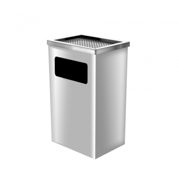 Stainless Steel Rectangular Bin c/w Ashtray Top (SS111-AT)