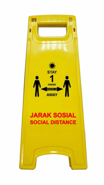 Yellow Floor Sign - 1 Meter Distance (Covid-19)
