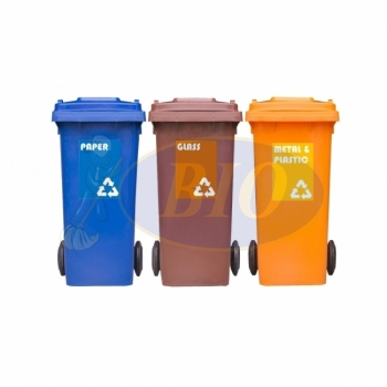 120L Mobile Garbage Recycle Bin 2-Wheel 3-in-1 C/W Sticker