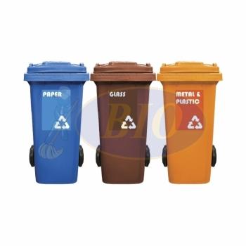 120L Mobile Garbage Recycle Bin 2-Wheel 3-in-1 C/W Sticker