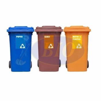 240L Mobile Garbage Recycle Bin 2-Wheel 3-in-1 C/W Sticker