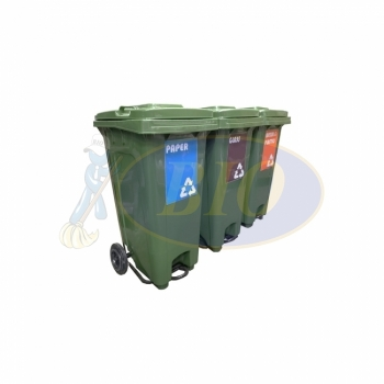 120L Mobile Garbage Recycle Pedal Bin 2-Wheel 3-in-1 C/W Sticker