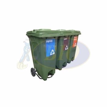 120L Mobile Garbage Recycle Pedal Bin 2-Wheel 3-in-1 C/W Sticker