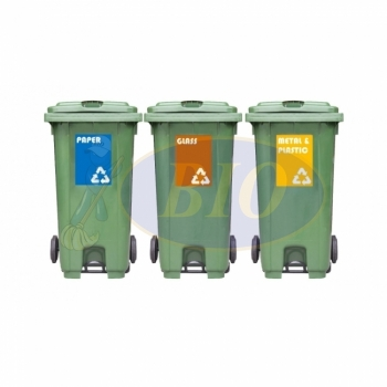 240L Mobile Garbage Recycle Pedal Bin 2-Wheel 3-in-1 C/W Sticker