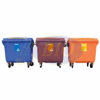 660L Mobile Garbage Recycle Bin 4-Wheel 3-in-1 C/W Sticker