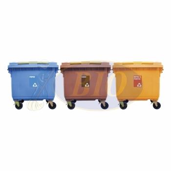 660L Mobile Garbage Recycle Bin 4-Wheel 3-in-1 C/W Sticker
