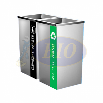 SS110-L Stainless Steel Recycle Bin Square C/W Open Top (2-In-1)
