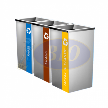 SS110-L Stainless Steel Recycle Bin Square C/W Open Top (3-In-1)