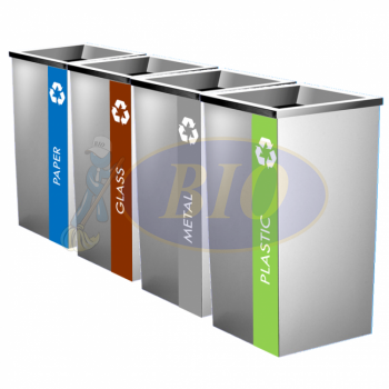 SS110-L Stainless Steel Recycle Bin Square C/W Open Top (4-In-1)