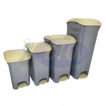 Plastic Rectangular Pedal Bin - Grey Colour