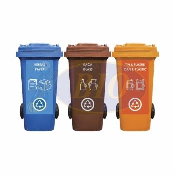 120L |CM3| Mobile Garbage Recycle Bin 3-in-1 C/W Sticker