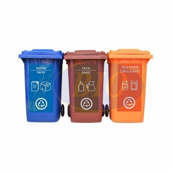 240L |CM3| Mobile Garbage Recycle Bin 3-in-1 C/W Sticker