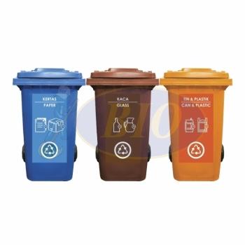 240L |CM3| Mobile Garbage Recycle Bin 3-in-1 C/W Sticker