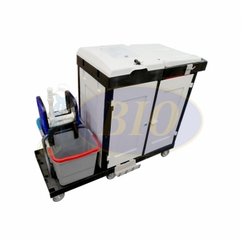 Full Cover & Security Janitor Cart c/w Double Bucket - EUROPE