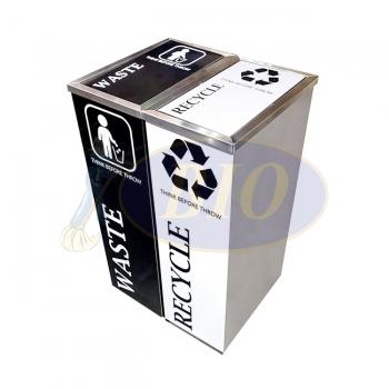 SS102 |CE2| Stainless Steel Recycle Bin Rectangular C/W Flip Top (2-in-1)