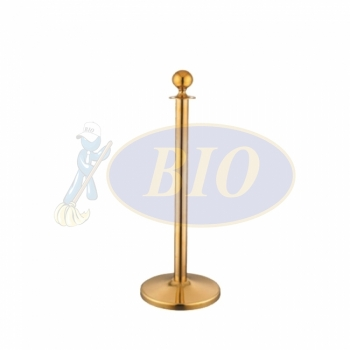 Gold Electroplated Velvet Rope Q-Up Stand (Round Head)