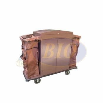 Powder Coated Maid Trolley c/w Door & Multi-Function Bag