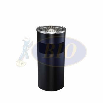 SS108-B Black Powder Coated Bin Round C/W Ashtray Top