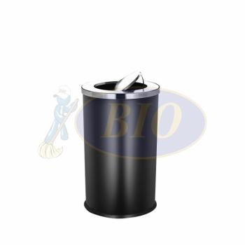 SS106-B Black Powder Coated Bin Round C/W Flip Top
