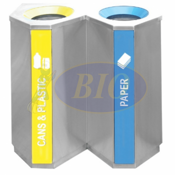 Stainless Steel Recycle Bin - Triangle 2 in 1
