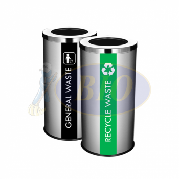 SS107 Stainless Steel Recycle Bin Round C/W Open Top (2-In-1)