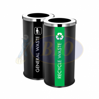 SS107-B Black Powder Coated Recycle Bin Round C/W Open Top (2-In-1)