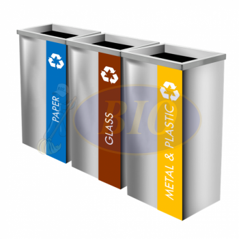 SS111-OT Stainless Steel Recycle Bin Rectangular C/W Open Top (3-In-1)