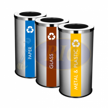 SS107 Stainless Steel Recycle Bin Round C/W Open Top (3-In-1)