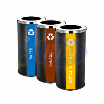 SS107-B Black Powder Coated Recycle Bin Round C/W Open Top (3-In-1)