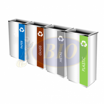 SS102-OT Stainless Steel Recycle Bin Rectangular C/W Open Top (4-In-1)