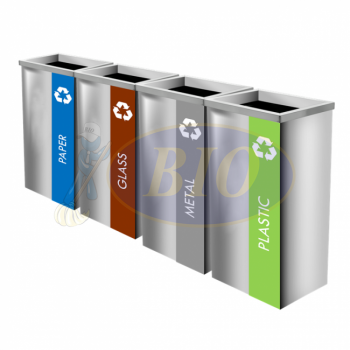 SS111-OT Stainless Steel Recycle Bin Rectangular C/W Open Top (4-In-1)