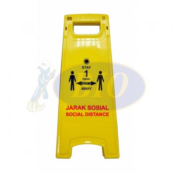 Yellow Floor Sign - 1 Meter Distance (Covid-19)