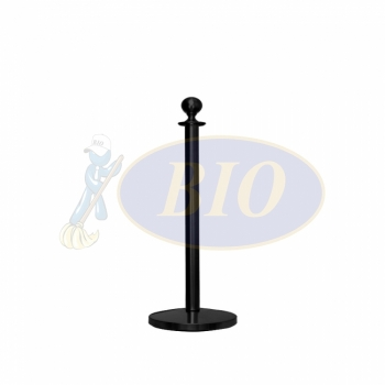 Black Coated Velvet Rope Q-Up Stand (Round Head)